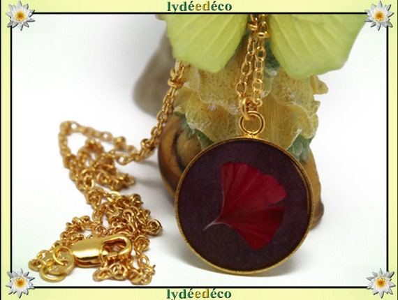 Necklace Golden brass gold 24 carat 24 k purple GINKO resin