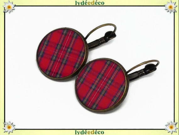 Earrings retro Plaid red tartan Scottish Outlander resin brass bronze mother's day birthday Christmas gift
