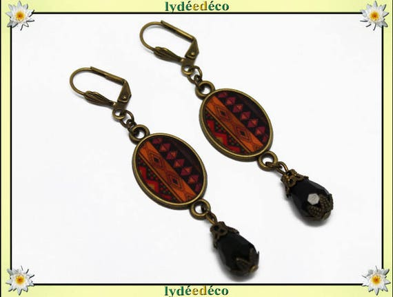 Earrings retro vintage oval cabochon Africa orange brown black resin brass bronze beads glass pendants 20 x 15mm