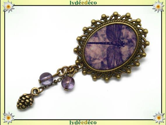 Retro pin resin purple Dragonfly pendant brass oval 18 x 25mm charm beads pinecone