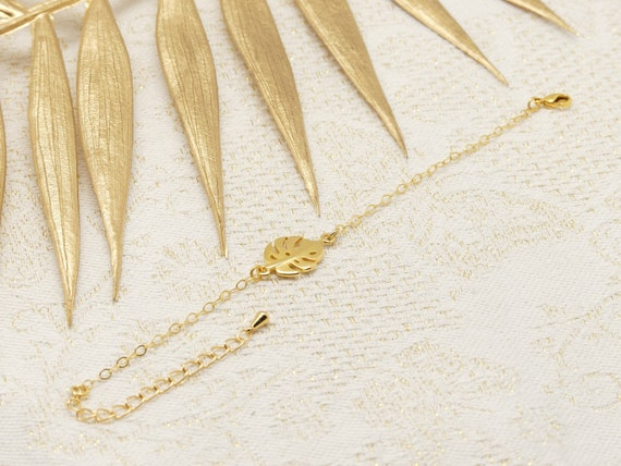 MONSTERA gold or gold rose philodendron leaf bracelet or gold rose adjustable wedding wedding wedding bride bridesmaid Mother's Day