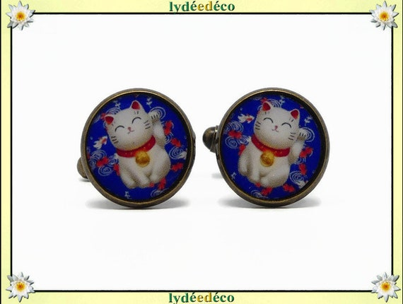 2 retro resin cufflinks Chinese cat brings happiness blue red white brass bronze 14mm party of fathers master birthday gift