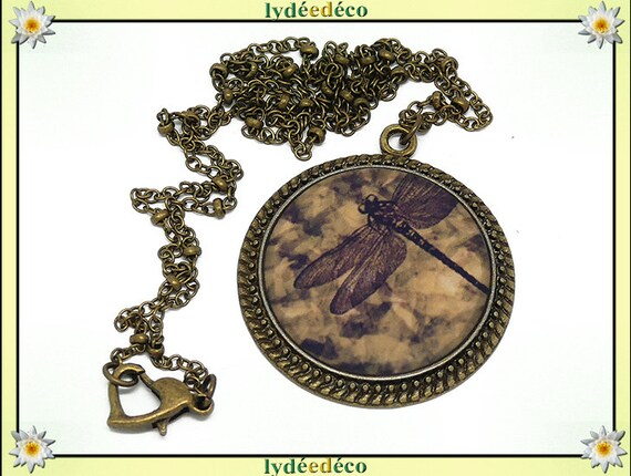 Necklace retro Dragonfly brown beige sepia retro resin and brass bronze brass Locket 25mm Christmas mother's day birthday gift