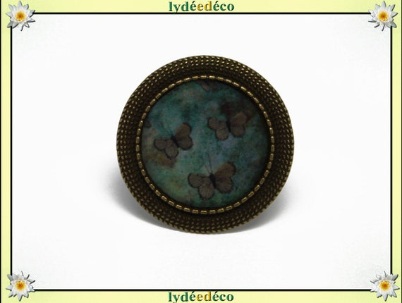 Round ring vintage retro Brown Green Butterfly charm 20mm retro bronze adjustable brass and resin