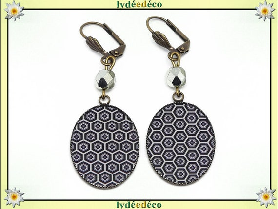 Earrings retro vintage kikko scales turtle Japan black beige resin bronze beads gift mother's day birthday Christmas