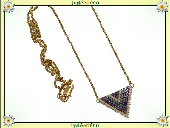 Necklace purple lilac iridescent blue triangle chevron chain steel weaving stainless mother's day birthday Christmas gift
