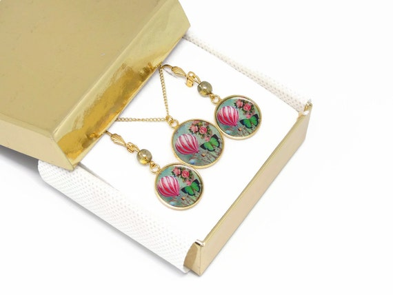 Set necklace earrings balloon brass gold 24 k gold filled 14K rose green mother's day birthday Christmas gift