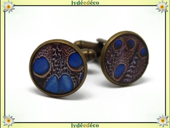 2 resin blue Peacock feather suit cuff links dark brown brass bronze 14mm master thank you for father's day birthday gift