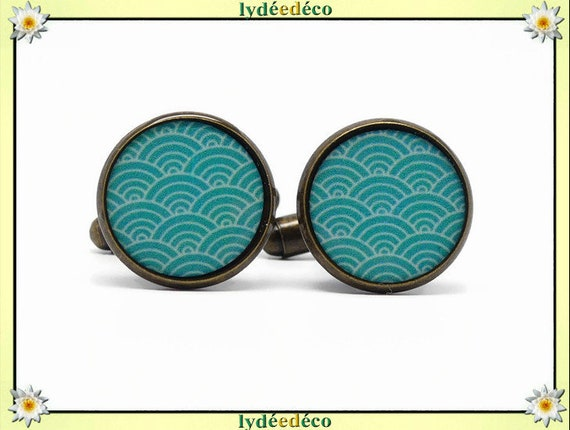 2 cufflinks suit resin resin waves sea Japan green turquoise brass bronze 14mm party of fathers thank you master birthday gift