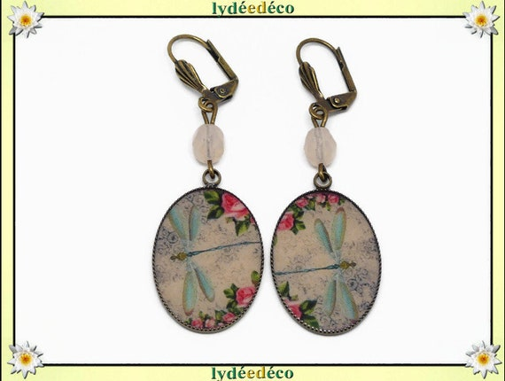 Retro resin earrings Dragonflies flower old pink pink green pastel brass brass bronze pearls Christmas birthday party of mothers