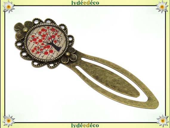 Bookmark retro poppy tree of life red beige black resin and brass bronze 20mm