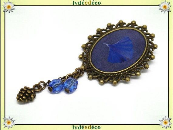 Retro pin blue brass Japan Ginko tree resin bronze Oval Pendant 18 x 25mm beads charms mothers birthday gift