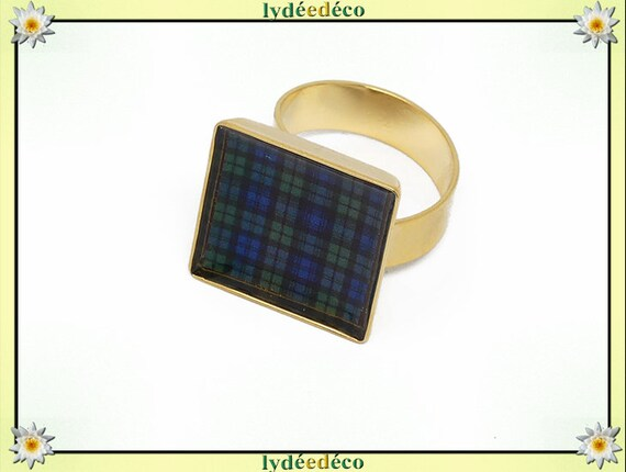 Tartan black watch blue green scottish brass gold 24 k resine black gold 17mm adjustable birthday gift birthday party of mother Christmas