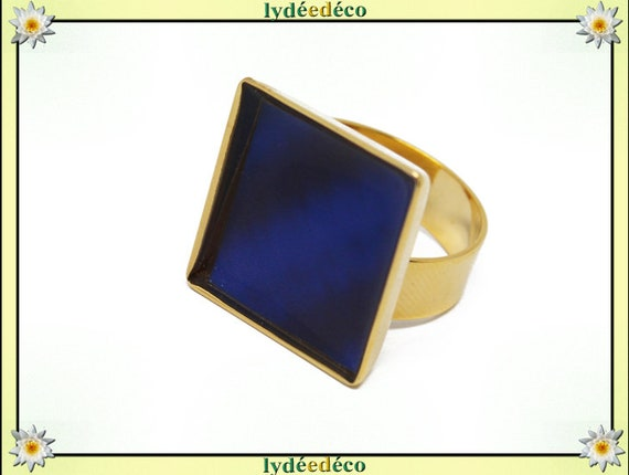 BLUE square brass gilded with gold 24 carat 24 K resin blue 17mm Adjustable ring