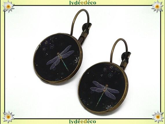 Vintage Japan black resin grey brass Dragonfly earrings retro bronze 2cm mother's day birthday Christmas gift