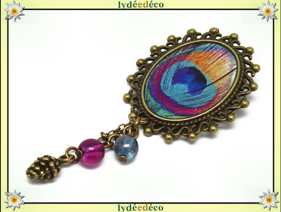 Retro pin bronze resin peacock blue turquoise pink orange brass feather 18x25mm beads charms mothers birthday gift