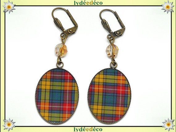 Pearl Earrings checkered red orange yellow green Scottish tartan resin brass Outlander mothers birthday Christmas gift holiday