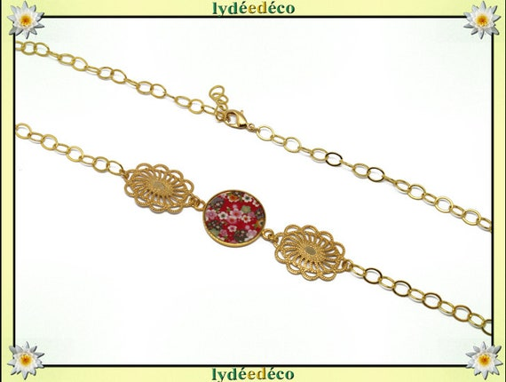 Headband Japan flower brass gold 24 k Red Green Pink white resin pearls, mother's day gift birthday thank you teacher