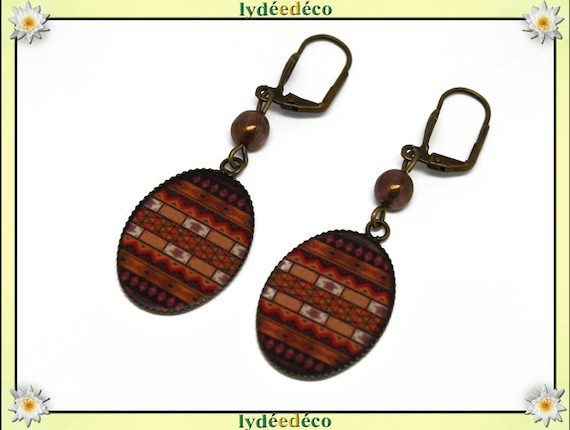 Earrings retro African vintage brown black Tan resin beads glass brass bronze 18 x 25mm