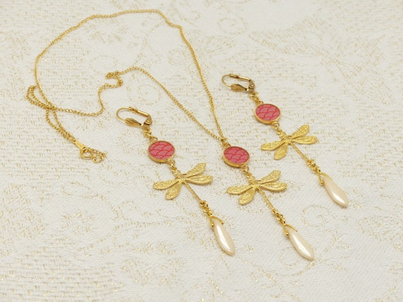Adornment LIBELLULE Necklace Brass rings gold 24k gold filled 14k LEAF turquoise or coral wave Japan ceremonies