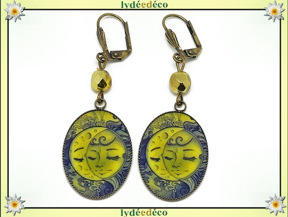 Retro earrings Blue Yellow Sun Moon resin bronze beads gift birthday Christmas mothers personalized