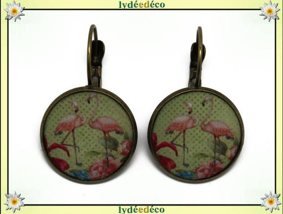 Boucles dormeuses rondes rétro vintage exotique Flamants rose flamingo vert résine laiton bronze 2cm