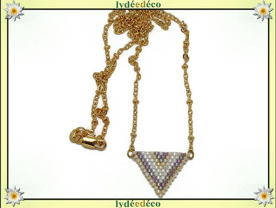 Necklace plated 18 k lilac purple pastel white beige and gold woven triangle chevron chain ball