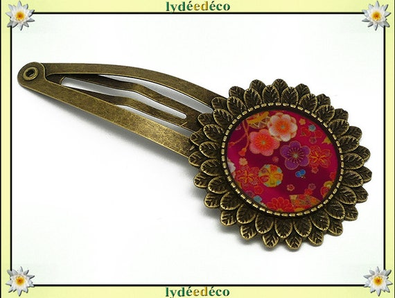 Hair clip wedding retro resin hair clip cherry blossom Sakura Japan red brass bronze mothers birthday gift