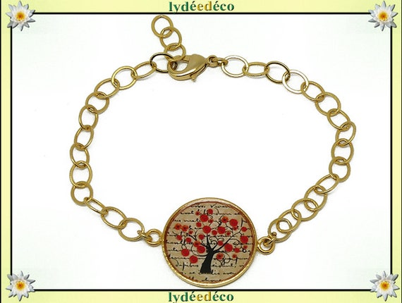 Adjustable bracelet poppy tree brass gold 24 k beige black red flower resin bead resin mothers birthday gift