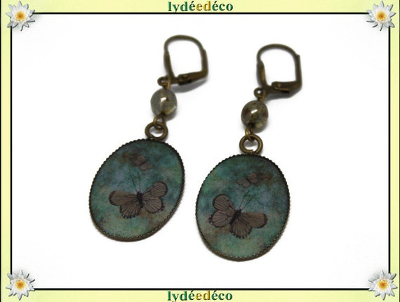 Earrings vintage retro Brown resin Green Butterfly glass bronze beads pendants 18x25mm