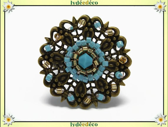 Charming retro vintage adjustable flower ring beads Japanese turquoise glass gold brass 25mm