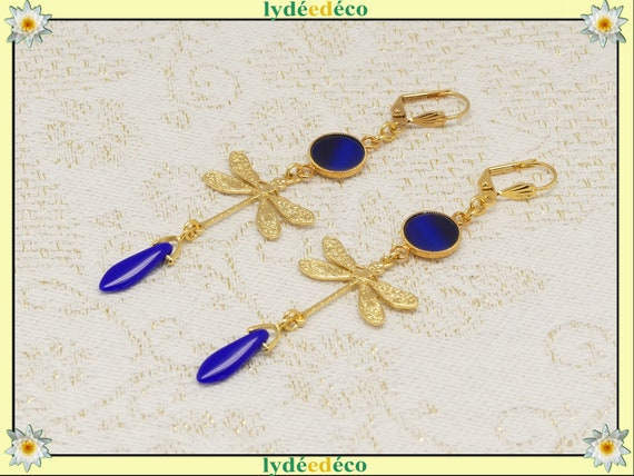 BLUE Libellule black or brass or fine 24k or silver 925 pearl resin gift birthday wedding christmas Christmas
