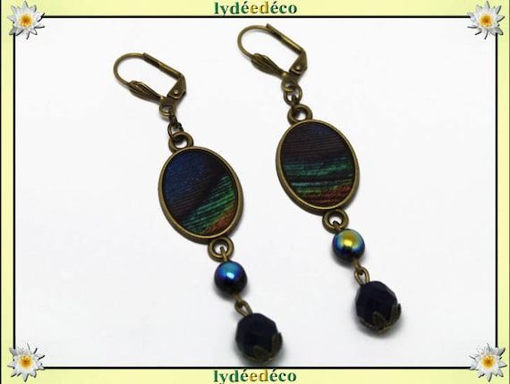 Earrings retro oval cabochon feather peacock blue night brown green black resin brass bronze beads glass facet pendants 20 x 15mm