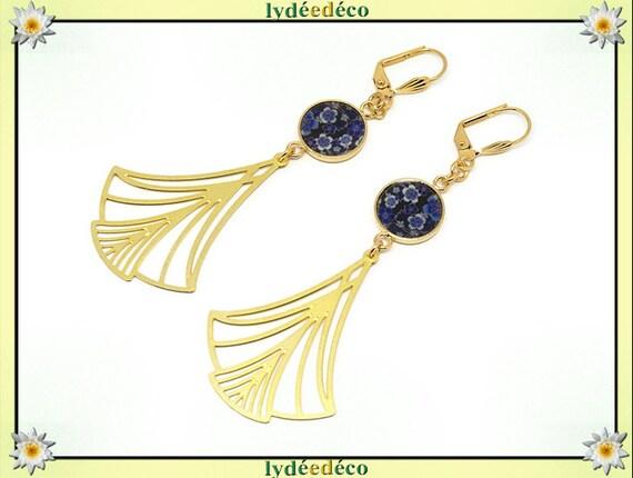 Earrings sakura Japan blue flower black white brass gold 24k resin birthday gift party of mothers wedding Christmas