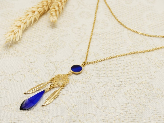 Necklace DREAM blue resin feather brass gold 24k catches dream ceremony ceremony of the mother gift
