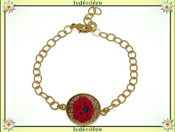 Adjustable bracelet Golden brass gold 24 carat beige red flower black resin poppy beads resin mothers birthday gift
