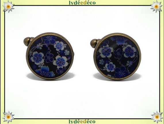 2 buttons retro cufflinks black Japan brass cherry blossom blue white resin bronze 14mm master thank you for father's day birthday gift