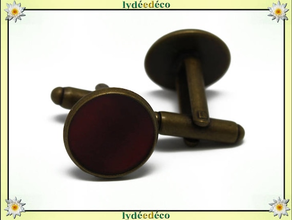 2 button cuff costume Burgundy resin brass 14mm thank you for father's day master birthday gift