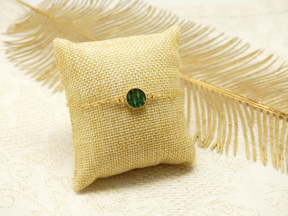 GINKGO gold-daughterd adjustable or green gold fan art deco jewelry ceremony wedding wedding bride bridesmaid Mother's Day