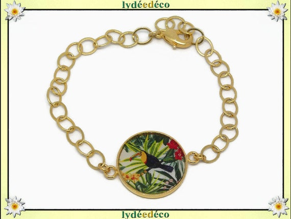 Adjustable bracelet exotic Toucan brass fine gold 24 carats 24k flower green yellow black red white resin party mothers birthday gift