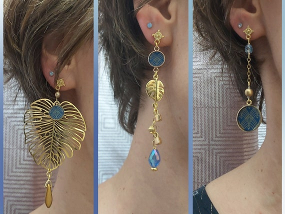 MONSTERA arabesques asymmetrical curls blue pearl resin brass or 24k resin ceremony gift christmas of the mother wedding Christmas
