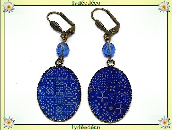 Earrings retro Azulejos Lisbon white blue resin beads bronze glass anniversary gift personalized mother's day
