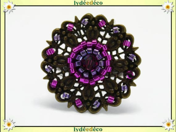 Ring flower weaving print Japanese retro purple pink vintage brass bronze 25mm glass beads