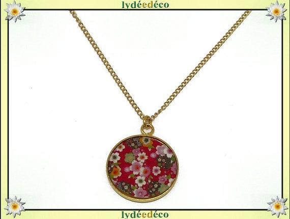 SAKURA flower cherry Japan brass Choker necklace gold plated 24 k gold filled 14 k red resin mothers birthday gift