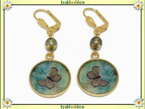 Earrings Butterfly brass gold 24k green brown resin beads resin gift birthday party mothers wedding thank you mistress Noel