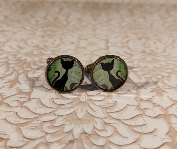 CAT retro resin cufflinks Cat green black or blue cat red white brass bronze 14mm party of master fathers birthday gift