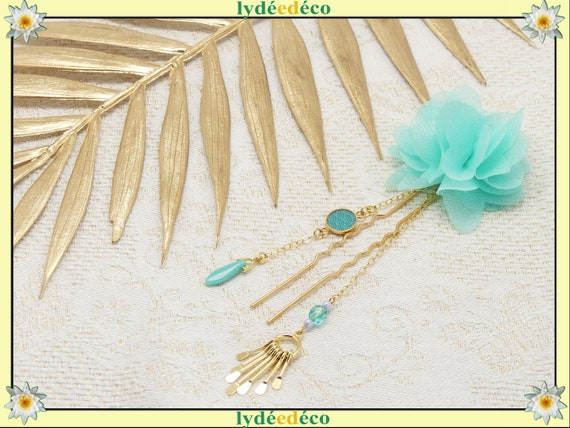 Pique SEIGAIHA hair accessory leaves Japan brass or turquoise coral pearl resin wedding ceremony gift ceremony