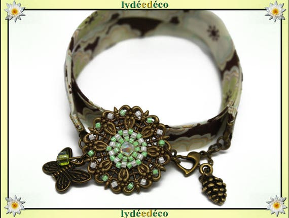 Retro bracelet Pastel print bright lime pearls white brown green liberty Flower Butterfly bronze Japanese glass