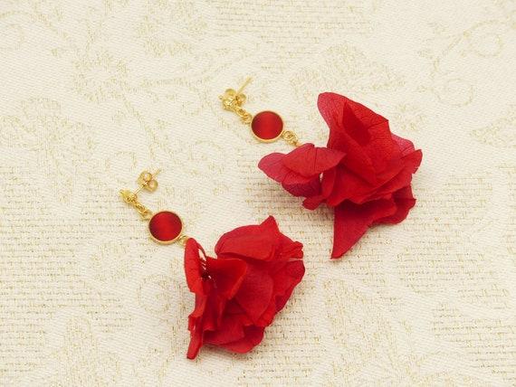 HORTENSIA rings resin flowers stabilized red brass or 24k resin ceremony wedding birthday wedding christmas Christmas