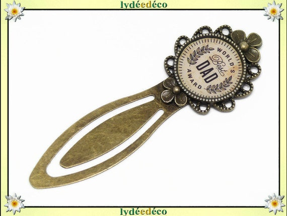 Bookmark world best dad award Laurel Crown beige Brown resin brass bronze 20mm celebration school birthday gift Christmas party